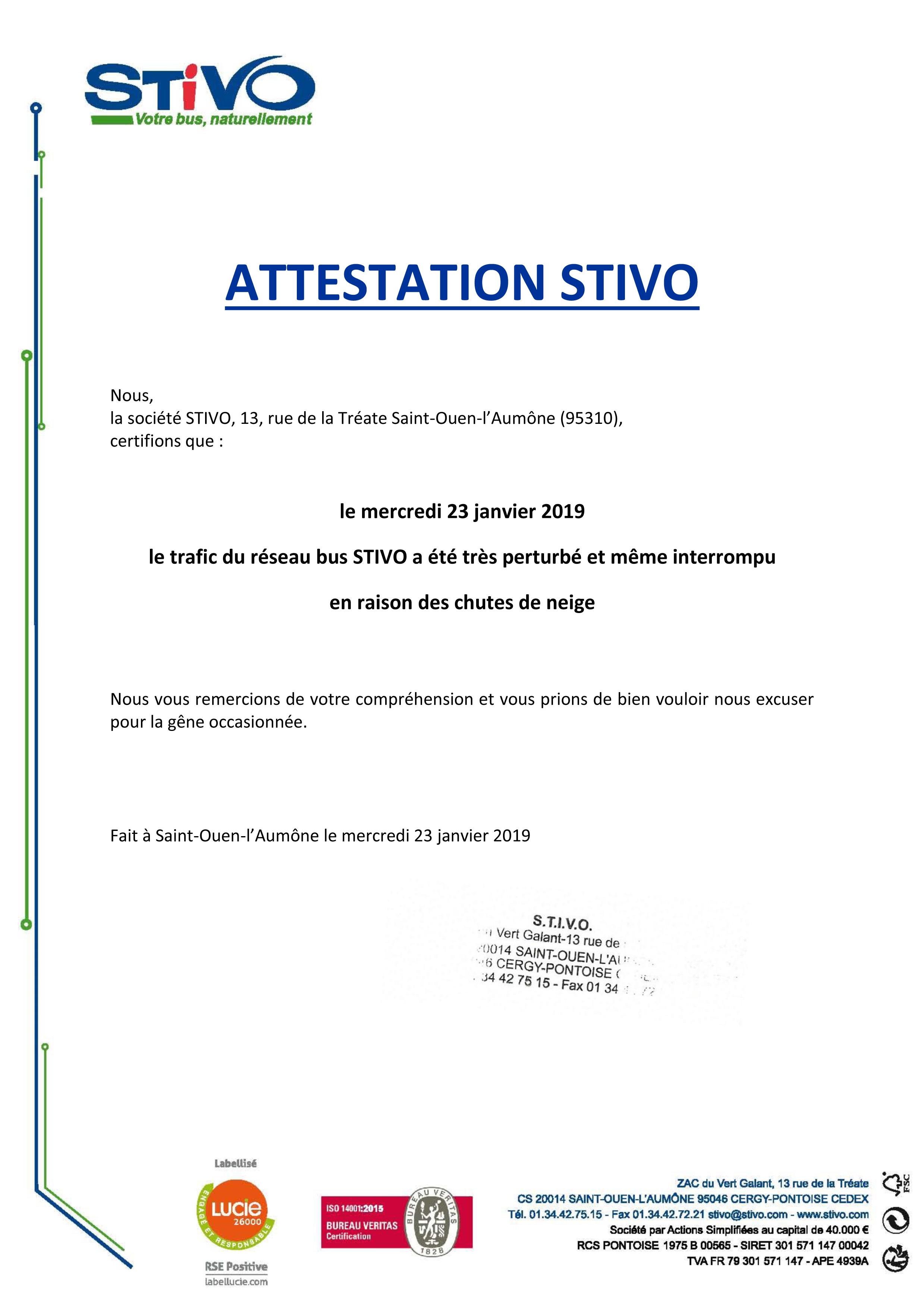 Attestation STIVO 23.01.2019
