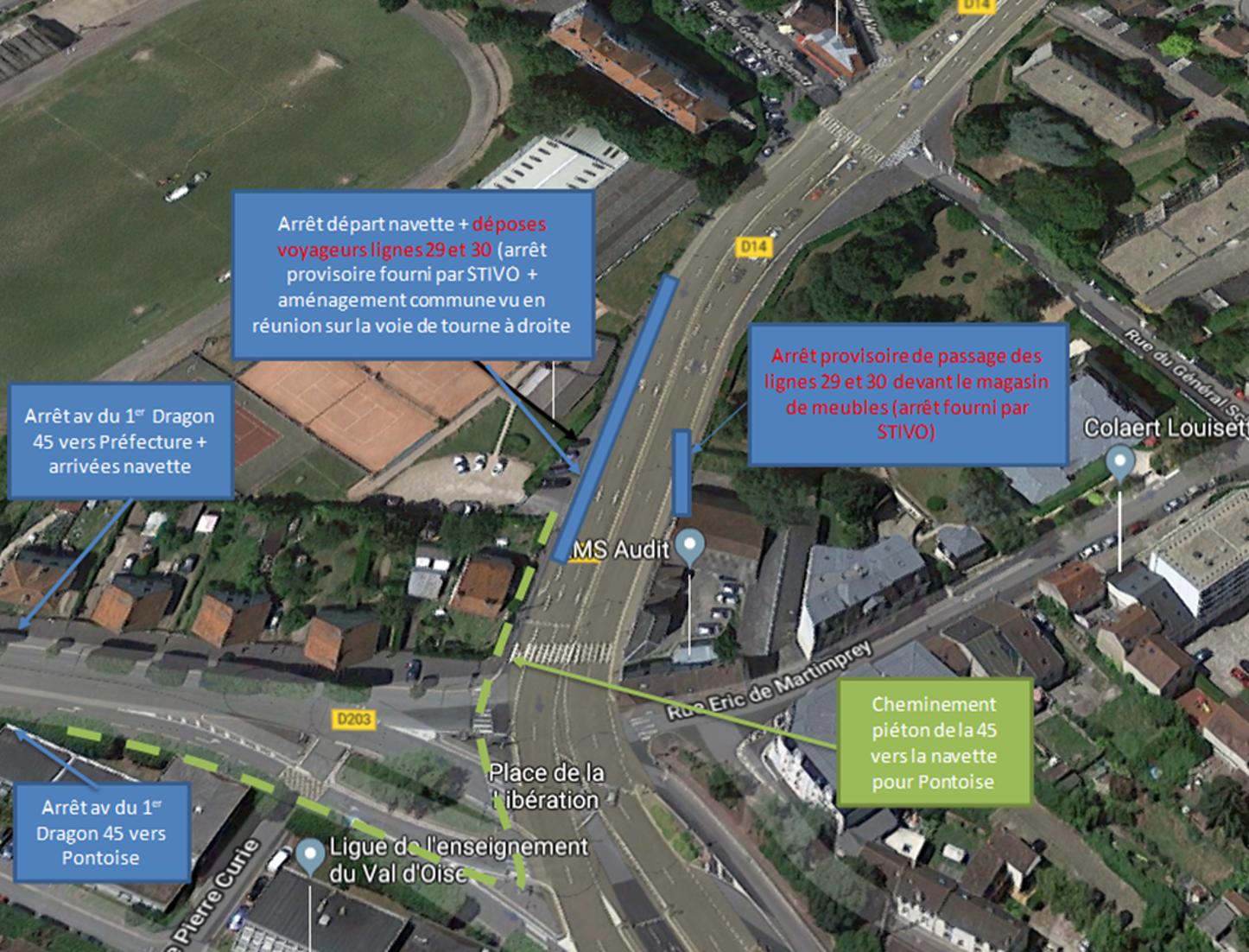 Plan acces navettes gare de Pontoise Canrobert (indications notées dans l'actualité internet)
