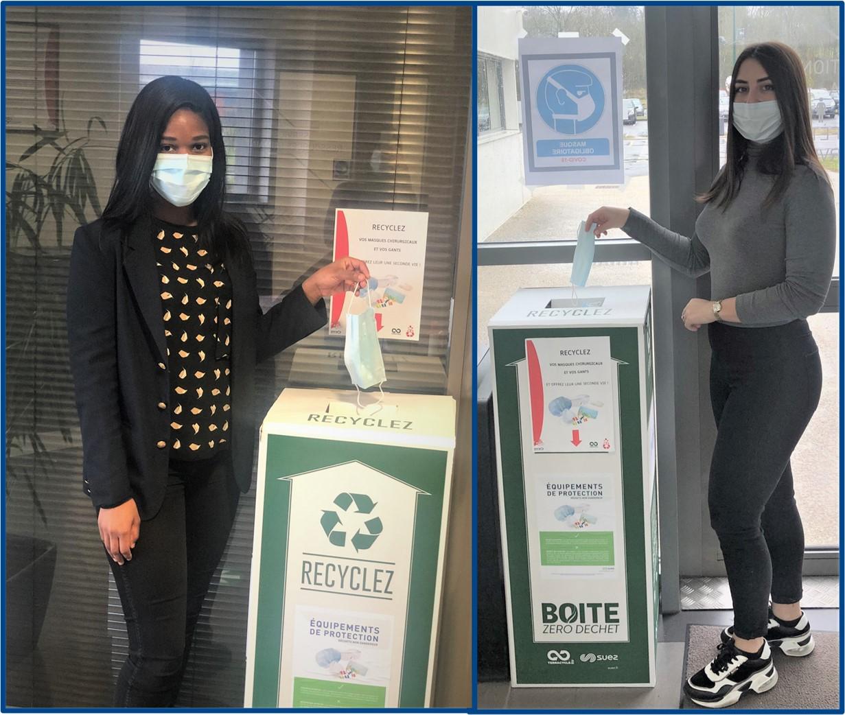 Recyclage masques usagés bornes de récupération pour valorisation déchets