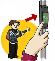 Personnage devant appuyer sur lle bouton arrêt demandé pour descendre du bus