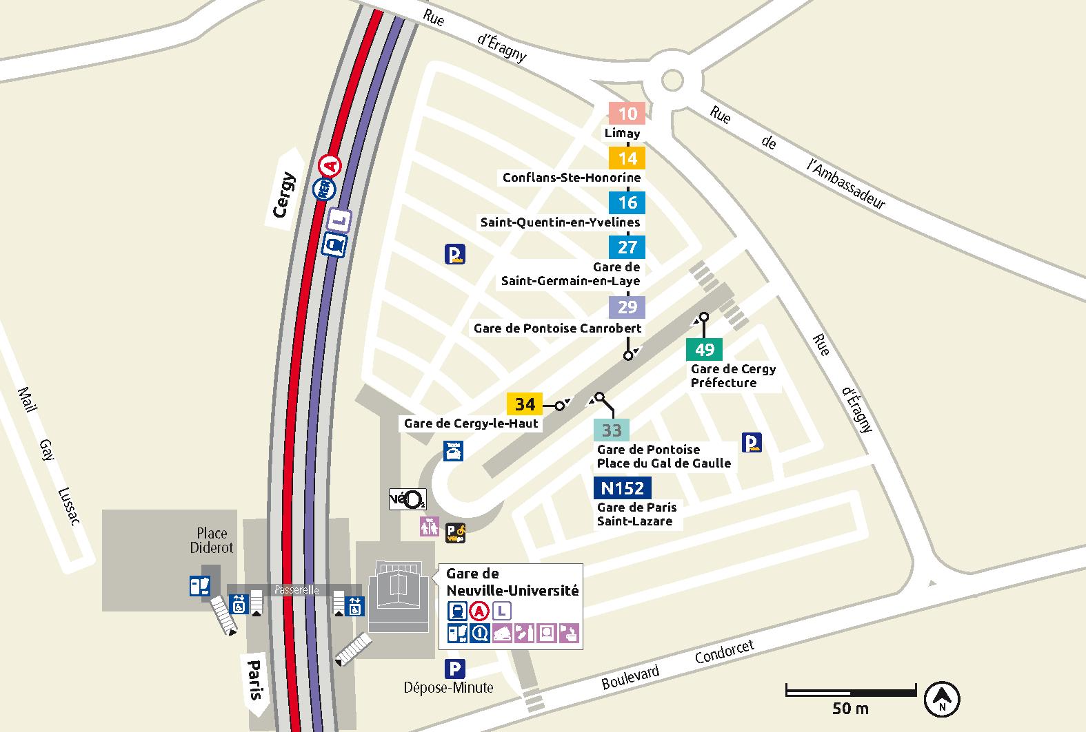 Plan des gares for Piscine cergy prefecture